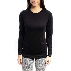 Cuddl Duds Black ClimateRight Long Sleeve Tee - Lg